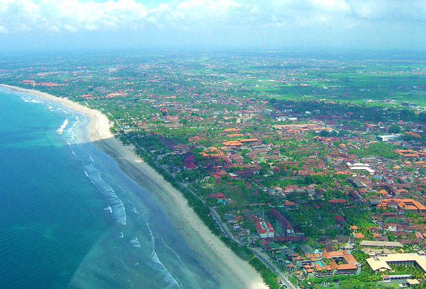 Kuta beach from the sky