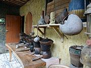 伝統的な厨房の展示