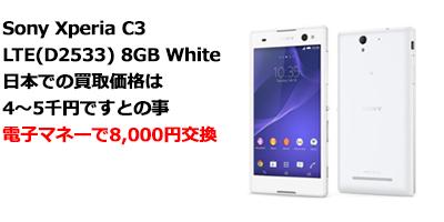 バリ島 Sony Xperia C3 LTE(D2533) 8GB White