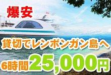 バリ島 観光クレイジー特価!レンボンガン島往復貸切ボート