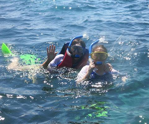 海の景色を楽しむシュノーケリング