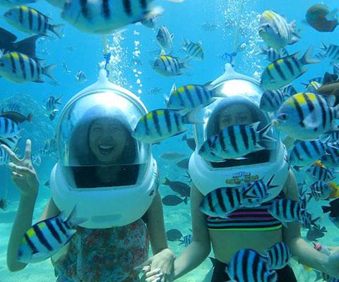 レンボンガン島は海の透明度が高いと評判