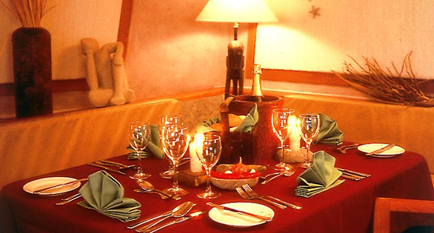 ディナーは新鮮な食材を厳選たコースディナー