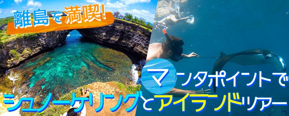 バリ島 マンタポイントでシュノーケリングとヌサペニダアイランドツアー
