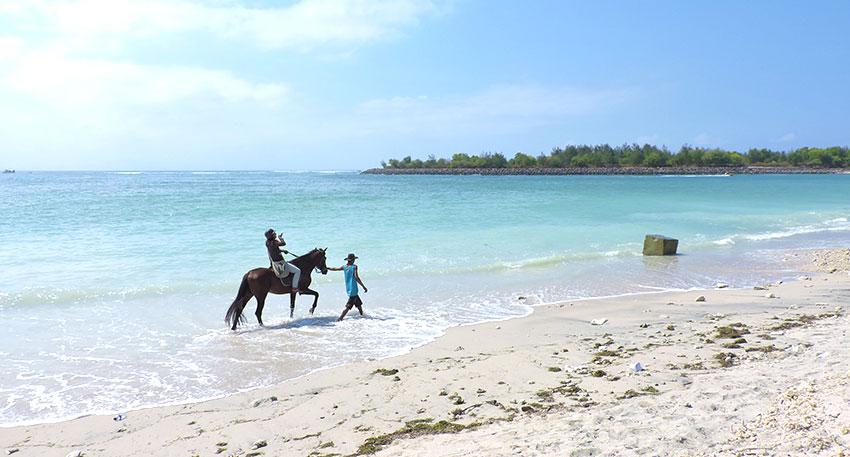 白い砂浜と青い海が美しいビーチです