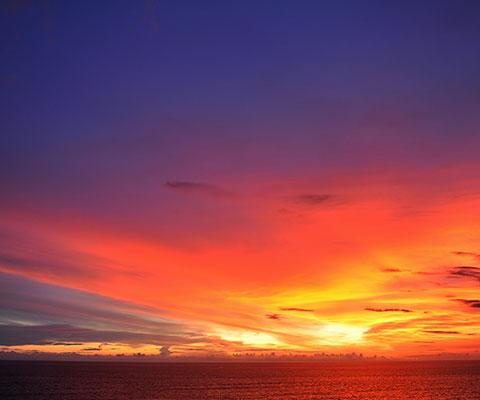 美しい夕日を観賞することができます